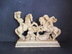 Signed: A. Santini, classic Italian sculpture of Roman warriors, Italy, mid 20th century