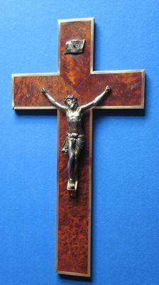 Large cherry cross with copper fittings around 1900.