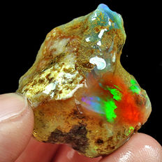 Natural Ethiopian Crystal Black Opal Play Of Color Rough Specimen - 24 x 23 x 19mm - 61.6ct