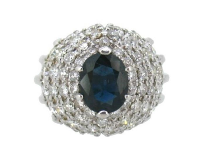 Cocktail ring with Sapphire and Diamonds of 18 kt white gold - size 13.5 (17.04 mm)