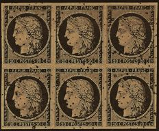 France 1849 – 20 centimes black, light chamois nuance, block of 6 with star cancellation, several signatures including Thiaude – Yvert No. 3