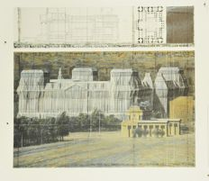 Christo - Wrapped Reichstag, Project for Berlin - Drawing in two parts