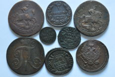 Russia - Mix of 8 copper coins 1734-1897 (3 with counter stamps)