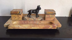 A bronze French bulldog on a large marble desk set, France, circa 1920