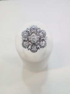 18 kt white gold ring - diamond approx. 0.20 ct.
