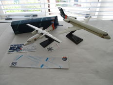 set of 2 Fokker scale models - Fokker 50 propeller jet aircraft and fokker 100 plane (factory models)