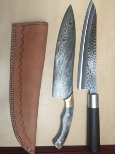 Lot of 2-kitchen knife damascus & Japanese professional chef kitchen knife