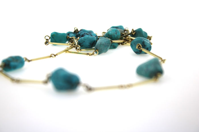 Turquoise necklace made of 14kt yellow gold - 76cm