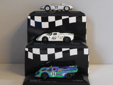 Minichamps - Scale 1/43 - Lot with 3 classic Porsche sports car models: 718, 907 & 917