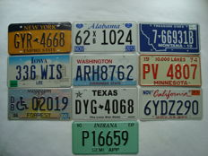 USA - 10 x state license plates