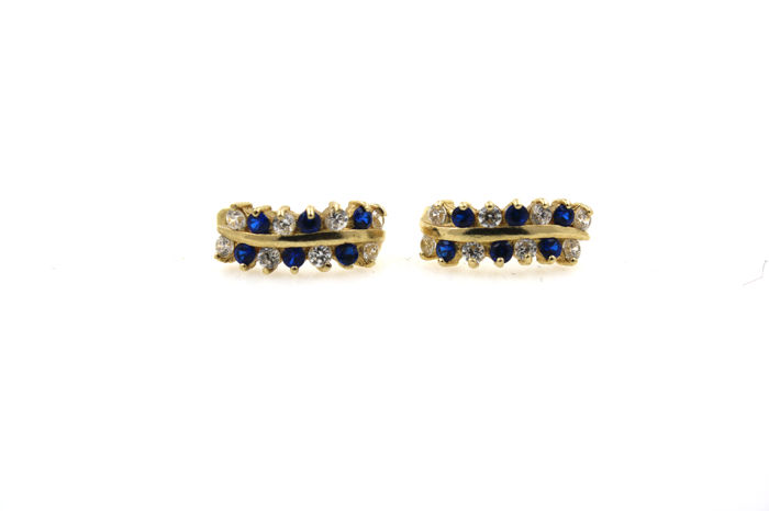 14 kt gold stud earrings with sappphires and zirconia