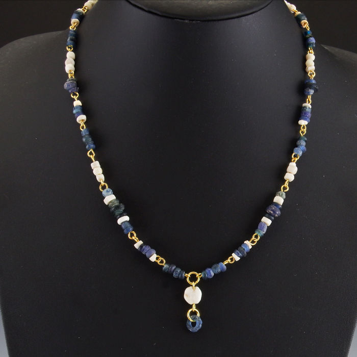 Necklace with Roman glass and shell beads - jewellery box included
