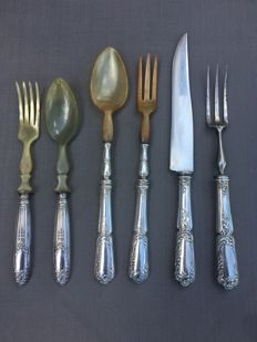 Six-piece classic silver plated serving cutlery (stamped) - circa 1900