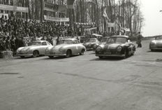 Porsche 356 split screen 1952 Dieburger Dreicks Race black and white photograph. 55cm x44cm