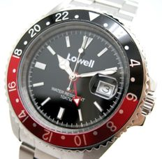 Lowell Hurricane GMT 10 atm watch – two tones black/red bezel – NEW