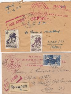 France 1946 – War, 2 letters from 1946 Dakar and Multiple red marks for the SSPM in Lyon