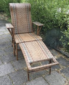 Rattan chaise longue , Mid 20th century France,
