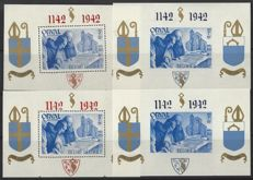 Belgium 1942 - Orval - OBP block nos. BL 18A to BL 21 A, not numbered