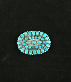 Antique silver belt buckle with natural turquoises - Native American - Second half of the 20th century