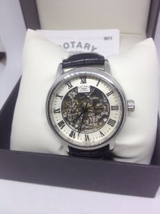 Rotary Men's Automatic Watch with White Dial Analogue Display and Black Leather Strap GS00209/09