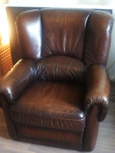 Leather Sigar Lounge Fauteuil, Engeland, Eind 20 eeuw