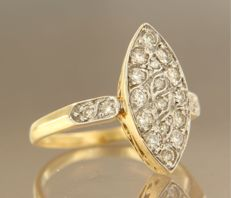 18 kt bi-colour gold marquise ring set with 20 brilliant cut diamonds, ring size 17,5 (55)