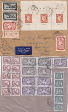 Indochina 1949 – Registered letter Saigon for Lyon with Yvert no. 841b  Citex Paris band