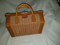 Vintage Parfums Rochas Paris Genuine Leather Hand Luggage Cabin case Bag