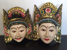 Set of two large Balinese masks - wood carving - Indonesia - second half of the 20th century