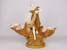 Royal Dux - Large porcelain centrepiece lady on sea shell