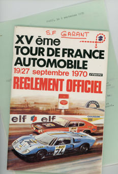 1970 Tour De France Automobile regulation Programme entry lists newspaper and stage results Rare