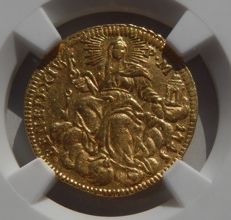 Papal States - Benedict XIV - Zecchino - 1745 - Roma - GOLD Certified NGC AU details