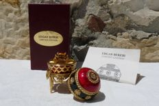 "Edgar Berebi - Collection - ""Czarina"" - enamel and plated metal gold 22 k - signed - certificate"