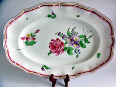 Luneville - Large, hand painted, oval plate Francecirca 1890