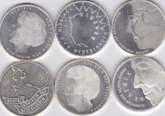 The Netherlands, 50 guilder coins 1984/1993, Beatrix (6 different ones) – silver.