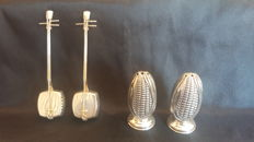Two Pairs of salt shakers sets in sterling silver 950 and 800, Japan/Italy