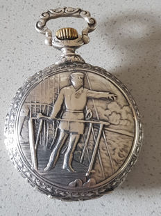 11. Silver pomp relief double mantle pocket watch - Columbus and his ship - Switzerland around 1880