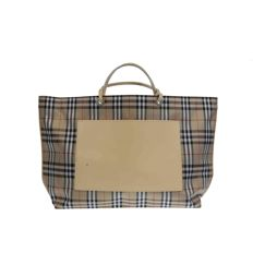 Burberry — Cheque pattern shoulder shopping bag — *No Reserve Price*