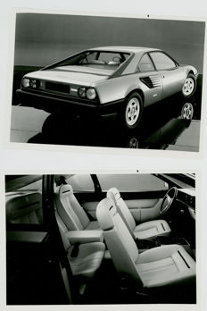 2 x Ferrari Mondial 8  original black and white Pininfarina press photographs 16cm x 13cm