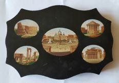 """Grand Tour"", micro mosaic on slate featuring different views of Rome - Italy - 19th century"
