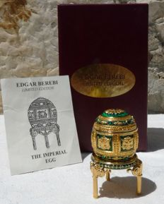 "Edgar Berebi - Collection - ""The Imperial"" - Enamel, Rhinestones and 22k gold plated metal - Signed - Certificate."