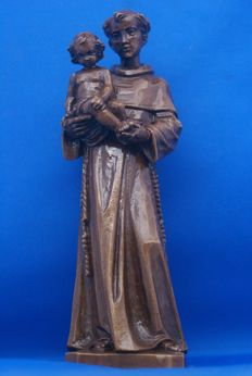 Beautiful wooden sculpture monk with child, this sculpture comes from a monastery in Belgium