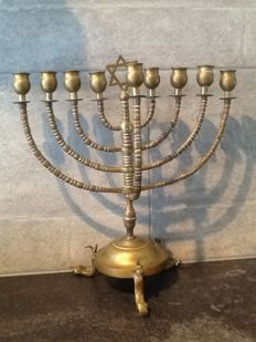 A bronze Hanukkah with star of David - Europe - end 19th century