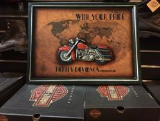 Large exclusive HARLEY DAVISON  54 x 40 x 2 cm Fan club  wood carved, handmade advertising sign - 80s