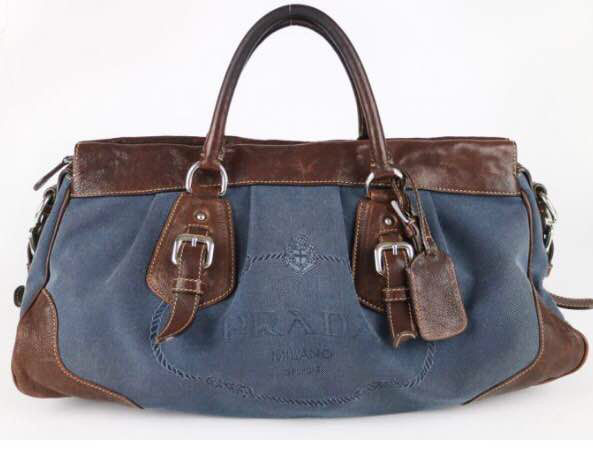 Prada - Denim Jacquard & Coco Leather Bag