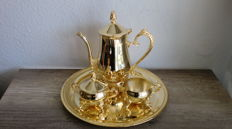 Coffee set - coffee pot, milk jug, sugar bowl + tray, gold plated metal