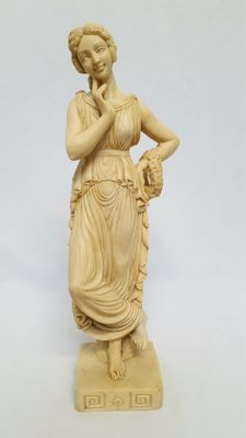 Venus statue of alabaster/resin, Greek mythology, signed