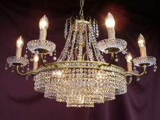 Gorgeous chandelier lustre kroonluchter with facet cut glass crystals - 1960 / 1970
