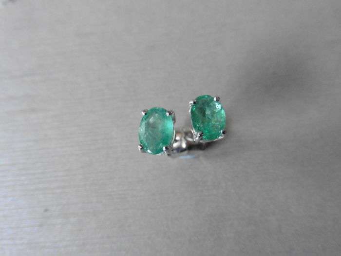 White Gold Emerald Earrings  - 1.60ct