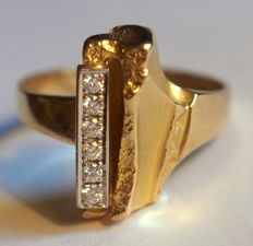 "Lapponia ""Da Capo"" - ring by Björn Weckström with diamonds in 18K gold, 8,5g, size 20,7 mm"